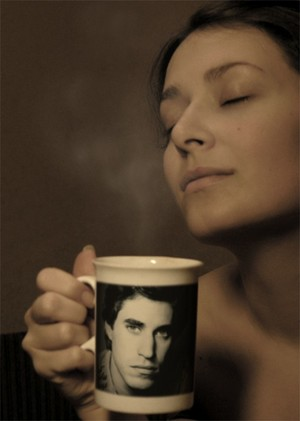 A woman with Joey on her mug