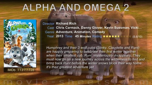 Alpha and Omega 2: a howl-iday adventure hình nền containing a sign titled Alpha and omega 2 poster