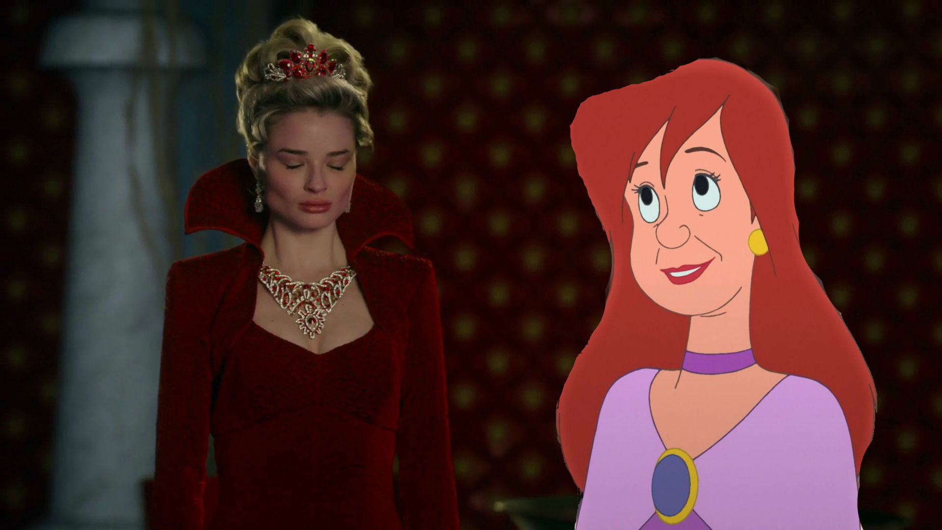 Công chúa Anastasia Tremaine with her animated Disney counterpart
