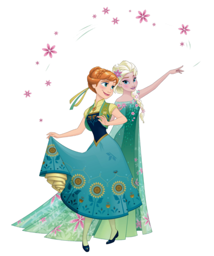 Frozen Fever wallpaper probably with a bouquet titled Anna and Elsa