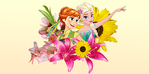 Frozen Fever Hintergrund with a bouquet, a camellia, and a hippeastrum titled Anna and Elsa