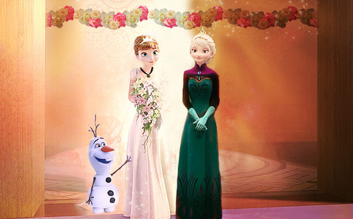 elsa e ana wallpaper probably with a bouquet called Anna and Kristoff's Wedding
