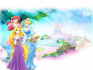 Princess Ariel, Princess cinderela & Princess Rapunzel wallpaper