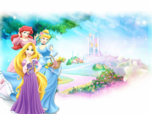 Disney Princess wallpaper entitled Princess Ariel, Princess Cinderella & Princess Rapunzel Wallpaper