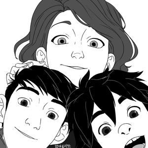Aunt Cass, Tadashi and Hiro