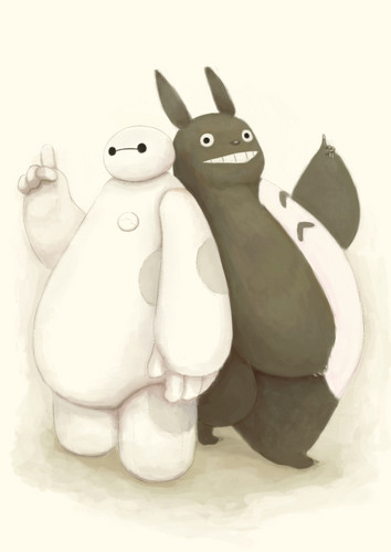 Big Hero 6 Hintergrund entitled Baymax and Totoro