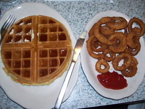 Belgian Waffle and cebolla Rings