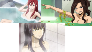 Cana Alberona, Erza Scarlet, and Kagura Mikazuchi