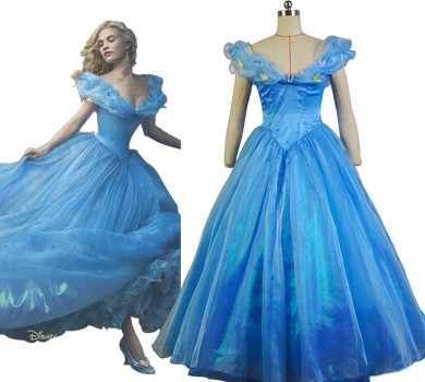 cinderela wallpaper containing a gown, a ball gown, and a bridal vestido entitled cinderela 2015 Film Princess cinderela Ella Party Dress Cosplay Costume