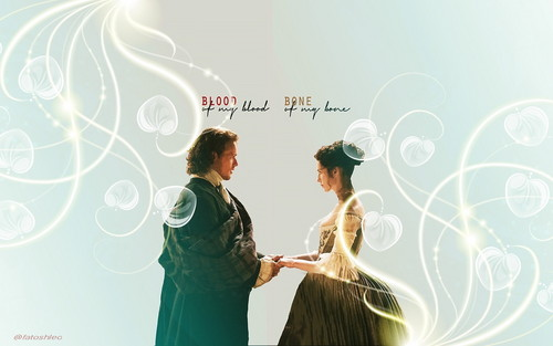 outlander série de televisão 2014 wallpaper with a jantar dress, a coquetel dress, and a vestido titled Claire and Jamie