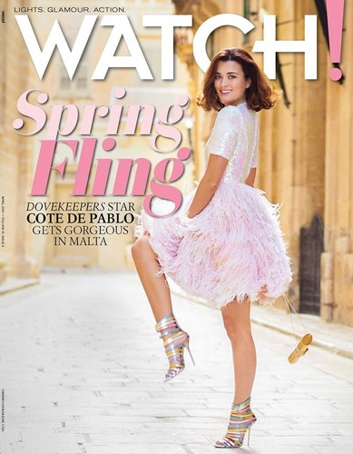 Cote De Pablo kertas dinding containing a koktel dress called Cote de Pablo// CBS Watch Magazine 2015