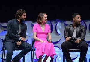 Daisy Ridley, John Boyega and Oscar Isaac at The Star Wars Celebration panel
