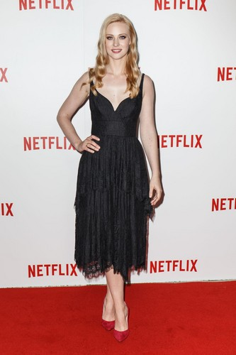 Deborah Ann Woll 바탕화면 probably with a 칵테일 dress, a dress, and a chemise called Deborah Ann Woll