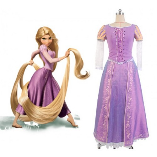 Disney پیپر وال containing a gown, a رات کے کھانے, شام کا کھانا dress, and a balldress, باللڈریسس called Disney Tangled Princess Rapunzel Dress Cosplay Costume