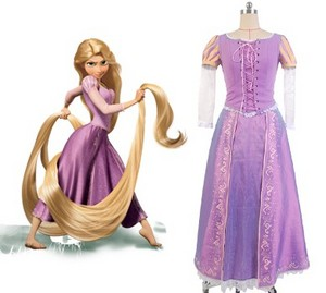 Disney Raiponce Princess Rapunzel Dress Cosplay Costume