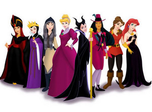 Disney princesses in villain's dress