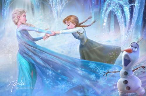 Childhood Animated Movie Heroines پیپر وال containing a فاؤنٹین, چشمہ entitled Elsa and Anna