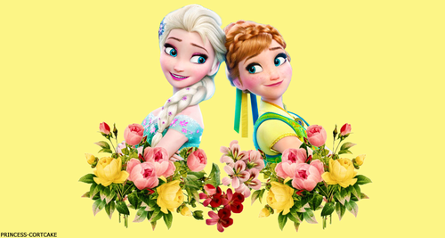 Frozen Fever Hintergrund containing a bouquet and a camellia entitled Elsa and Anna
