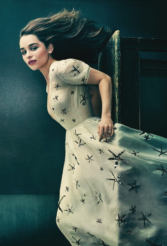 Emilia Clarke achtergrond probably with a blouse, a shirtwaist, and a sign titled Emilia Clarke for The Hollywood Reporter (April 2015).