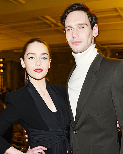 Emilia Clarke achtergrond containing a business suit, a well dressed person, and a suit entitled Emilia and her boyfriend Cory