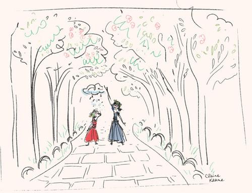 Elsa the Snow Queen hình nền called Nữ hoàng băng giá - Elsa and Anna development sketch