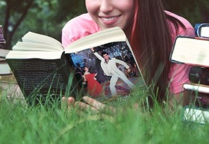 Girl reading SNF book