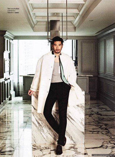 Godfrey Gao achtergrond probably containing a well dressed person, a business suit, and a cocktail dress entitled Harper's Bazaar Thailand