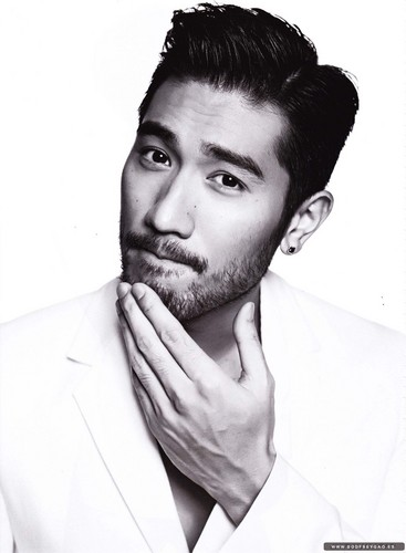 Godfrey Gao achtergrond possibly with a business suit entitled Harper's Bazaar Thailand