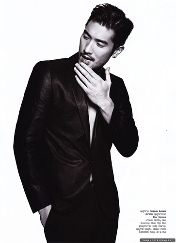 Godfrey Gao wallpaper with a business suit, a well dressed person, and a suit titled Harper's Bazaar Thailand