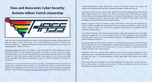 Hass and Associates Cyber Security: Botnets inflate Twitch viewership