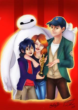 Hiro, Aunt Cass, Tadashi and Baymax