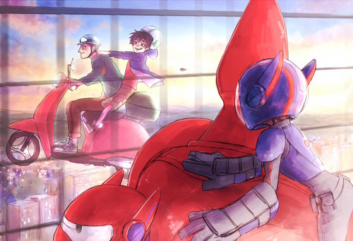 Big Hero 6 Hintergrund possibly with Anime entitled Hiro, Baymax and Tadashi