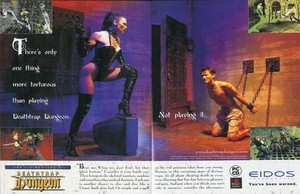 Hot babe from Deathtrap Dungeon ad