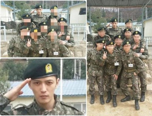 Hero Jae Joong wallpaper with a green beret, a rifleman, and a navy foca, selo entitled JYJ's Jaejoong spotted in military fotografias