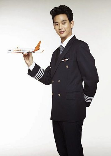 Kim SooHyun wallpaper containing a business suit called Jeju Air releases the promotional pictorial for their newest face, actor Kim Soo Hyun