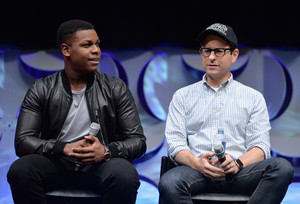 John Boyega and JJ Abrams at The estrela Wars Celebration