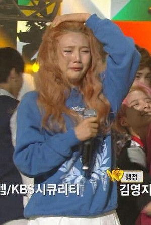 Joy crying during their first win