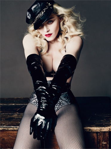 Madonna wallpaper with hosiery, a hip boot, and tights called L'Uomo Vogue 2014
