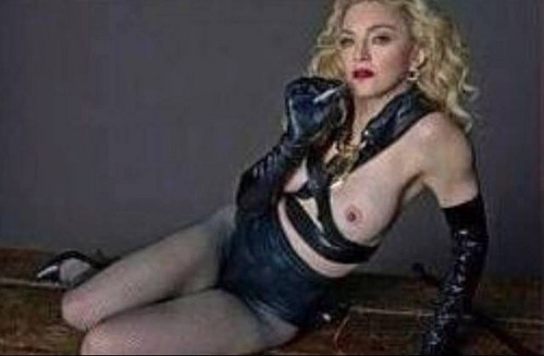 Madonna wallpaper with bare legs, hosiery, and tights titled L'Uomo Vogue 2014