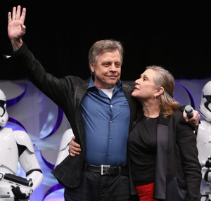 Mark Hamill and Carrie Fisher aka Luke Skywalker and Leia Organa at The stella, star Wars Celebration