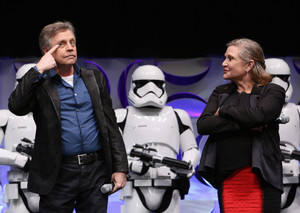 Mark Hamill and Carrie Fisher aka Luke Skywalker and Leia Organa at The سٹار, ستارہ Wars Celebration