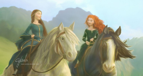 Disney Extended Princess Hintergrund containing a lippizan, a horse wrangler, and a horse trail entitled Merida and Elinor