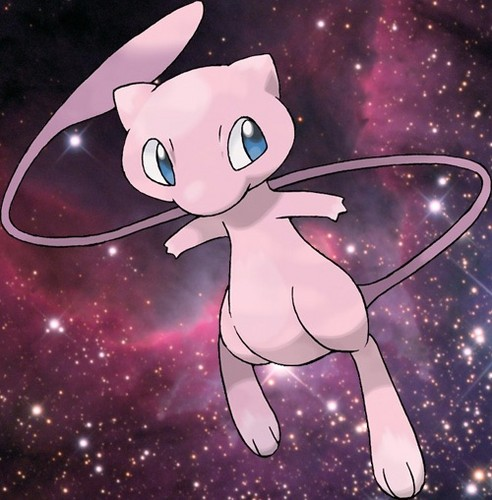 Lagenda Pokémon kertas dinding called Mew in angkasa