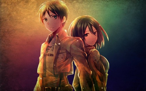 Attack on Titan karatasi la kupamba ukuta called Mikasa Ackerman and Eren Jaeger