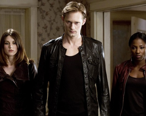 True Blood wallpaper possibly with a well dressed person and an outerwear titled Nora, Eric and Tara