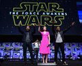 Oscar Isaac, marguerite, daisy Ridley and John Boyega at The étoile, star Wars Celebration