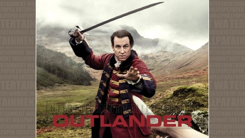 Outlander 2014 TV Series karatasi la kupamba ukuta possibly with a rifleman, a surcoat, and a lippizan entitled Outlander karatasi la kupamba ukuta