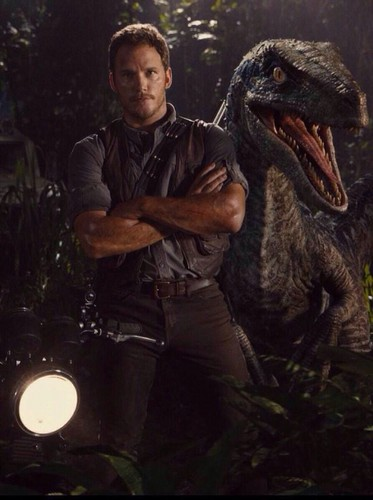 Jurassic World kertas dinding called Owen Grady and a Velociraptor