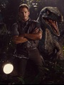 Owen Grady and a Velociraptor