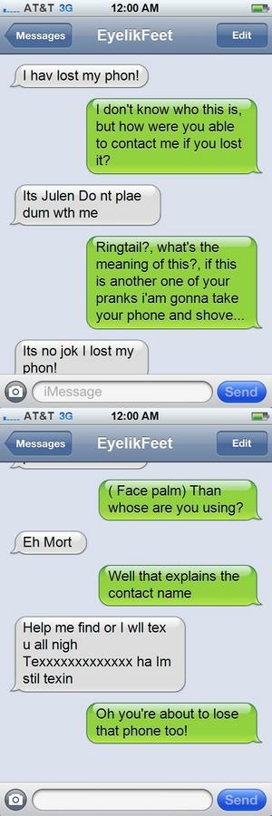 POM text: Mất tích phone